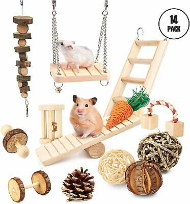 £17.49 • Buy 14 Hamster Chew Toys Natural Small Animal Accessories Wooden Treat Mouse Rat