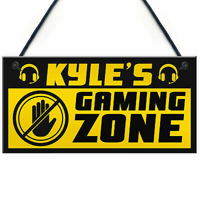 £4.99 • Buy Gaming Boys Bedroom Sign Accessories PERSONALISED Gift For Brother Son Gamer
