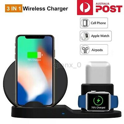 AU21.99 • Buy 3in1 Qi Fast Charging Wireless Charger Dock Stand For Apple IPhone IWatch AirPod