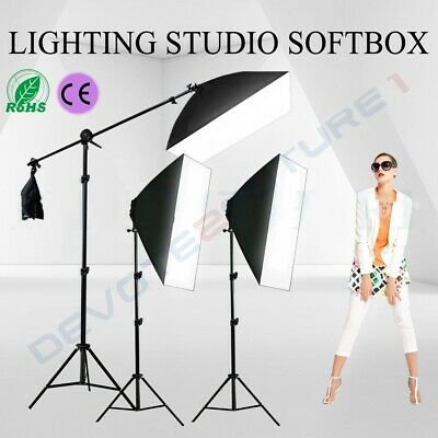 Photography 3PCS Softbox Studio Soft Box Boom Arm Stand Continuous Lighting Kit • 49.89£