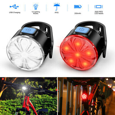 Bicycle Bike Cycling Hazard Lights USB Rechargeable LED Head Front Rear Lamp Set • 7.98£