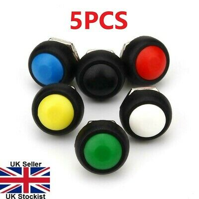 5PCS Mini 12mm Waterproof Momentary ON/OFF Push Button Round Switch 5 Colours • 3.95£