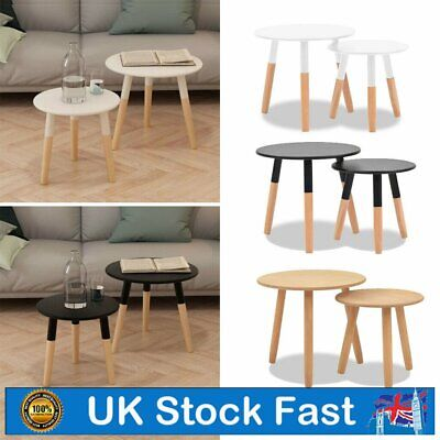 Modern Nest Of Tables White Retro Furniture Side Set Of 2 Coffee Table Pine Legs • 41.29£