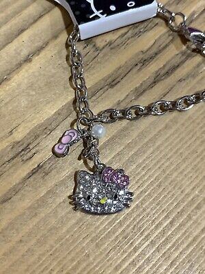 Hello Kitty Crystal Pearl Silver Charm Bracelet Bow Sanrio Stocking Filler Cat • 3.99£
