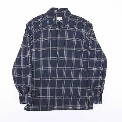 £14.99 • Buy Vintage LEVI'S Navy Blue Checked Casual Long Sleeve Shirt Men's Size Large