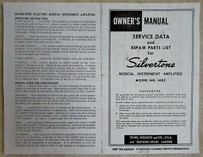 $ CDN12.09 • Buy 1960s SILVERTONE Vintage GUITAR AMPLIFIER Model 1482 OWNER'S MANUAL Reprint
