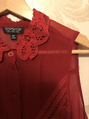 Topshop, Lace Detail, Sheer, Red, Sleeveless Top, Collared, Button Up, UK Size12 • 5.50£