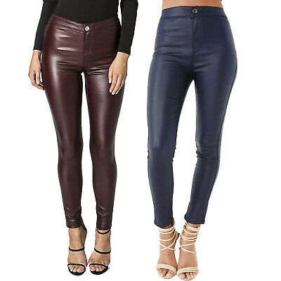 New Womens Ladies High Waist Leather Look Jeans Wet Look Stretchy Trousers Pants • 8.99£