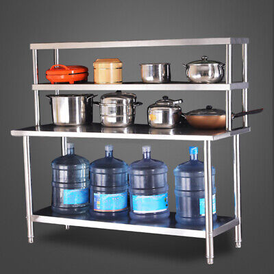 £239.94 • Buy Stainless Steel Kitchen Work Table Catering Bench Top Overshelf Set With 2 Layer