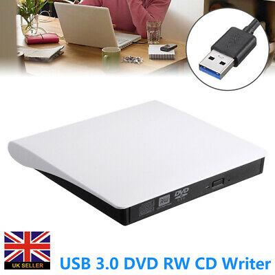 USB 3.0 External DVD RW CD Writer Drive Burner Player Reader For Laptop PC New • 11.27£