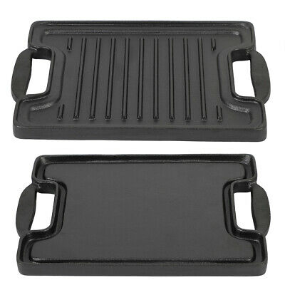 Cast Iron Flat Double Sided Baking Tray Non Stick Griddle Plate BBQ Grill Pan • 18.70£
