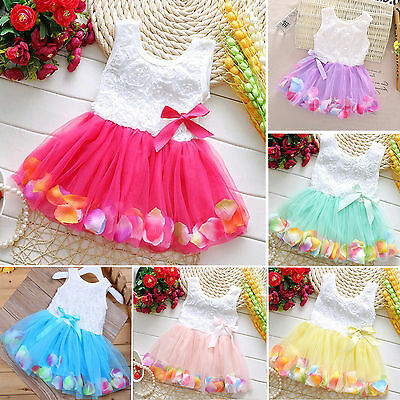 Baby Girl Toddler Princess Pageant Party Tutu Dress Kids Bows Flower Dresses / • 6.45£