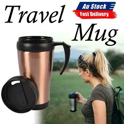 AU13.69 • Buy 500ml Stainless Steel TRAVEL MUG Insulated Cup Coffee Tea Interior With Handle