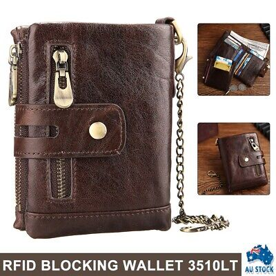 AU21.99 • Buy Men's RFID Blocking Wallet Genuine Leather Purse Card Slots Coins Holder Chain