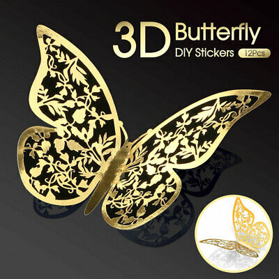 AU4.39 • Buy 12Pcs 3D DIY Wall Decal Stickers Butterfly Home Room Art Decor Decorations AU