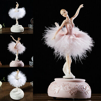 AU40.79 • Buy Birthday Gift Ballerina Music Box Dancing Girl Swan Lake Carousel With Feather A
