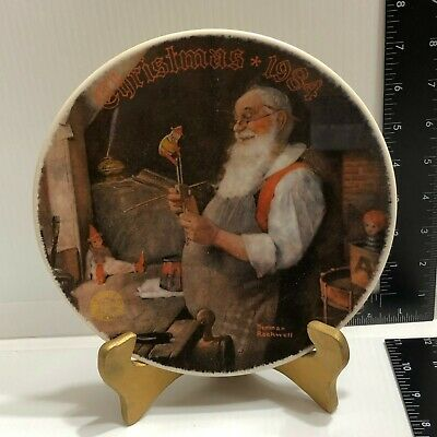 $ CDN19.64 • Buy Norman Rockwell Christmas 1984 Collectors Plate  Santa In His Workshop  Knowles