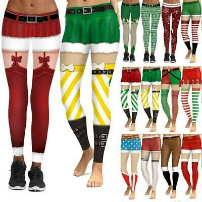 AU17.69 • Buy Women Christmas Legging Xmas Pants Stretchy Yoga Fitness Sports Skinny Trousers