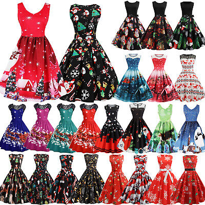 AU20.42 • Buy Women Christmas Sleeveless Swing Skater Fashion Dress Xmas Party Cocktail Prom