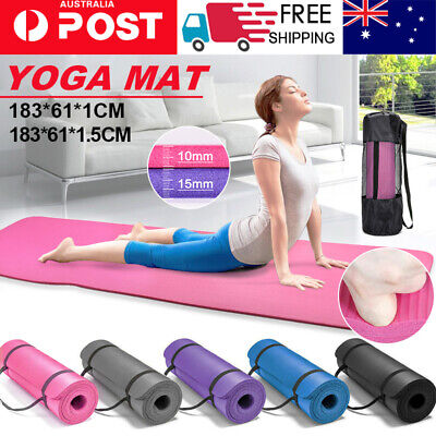 AU20.99 • Buy 10/15/20MM Thick Yoga Mat Pad NBR Nonslip Exercise Fitness Pilate Gym Durable