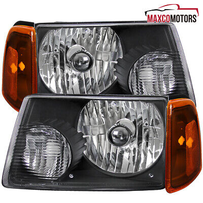 $63.69 • Buy Fits 2001-2011 Ford Ranger Black Headlights W/ Corner Amber Parking Lamps 01-11