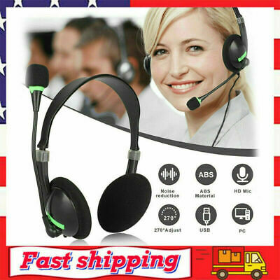 NEW Headphones With Microphone USB Noise Cancelling Headset For Skype Laptop UK • 8.88£