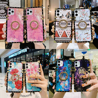AU16.99 • Buy For IPhone 12 11 Pro Max XS XR 7 8 Luxury Marble Flower Metal Square Case Cover