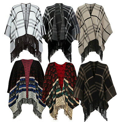 £12.99 • Buy New Womens Cosy Check Blanket Cape Ladies Poncho Shawl Knitted Fringe Trimming