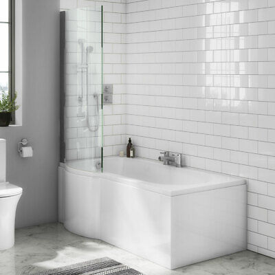 P Shape Shower Bath 1500 1675 1700mm With Screen & Front Panel Left Or Right • 257£