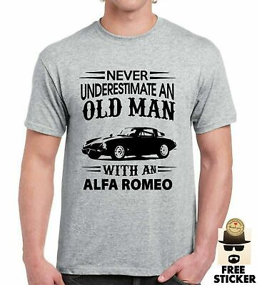 £8.99 • Buy Funny Alfa Romeo T-shirt Never Underestimate An Old Man Car Gift Fathers Dad Top