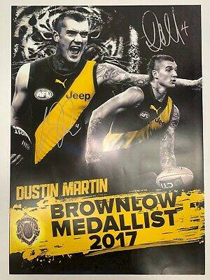 AU395 • Buy RICHMOND TIGERS DUSTIN MARTIN Hand Signed Brownlow Print Framed Premiers