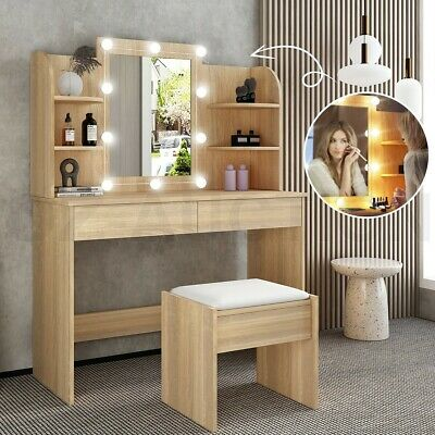 AU189.95 • Buy Oak Dressing Table Stool Mirror Makeup Jewellery Cabinet Table With Light Bulbs