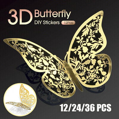 AU6.99 • Buy 12/24/36x 3D Butterfly Wall Decals Stickers Removable Kids Nursery Decoration