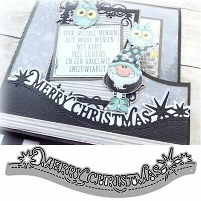 £2.99 • Buy Merry Christmas Lace Metal Cutting Dies Stencils Scrapbooking Card Making Craft