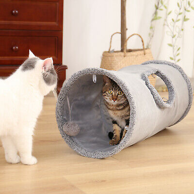 AU20.50 • Buy Cat Tunnel Play Hide Tube With Ball For Large Cats Dogs Rabbits Funny Pet Toys