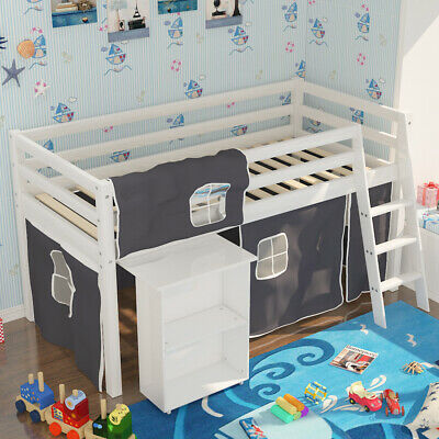Kids Cabin Bed 3FT Pine Wood Mid Sleeper With Play Tent Ladder Slide Out Desk • 189.95£