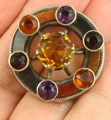 Antique Victorian C 1890 Sterling Silver Scottish Agate Paste Stone Brooch Pin • 26£