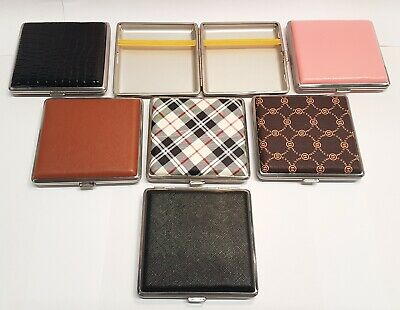 Faux Leather Metal LUXURY Case Cigarette Tin King-size Storage Holder Square Fag • 4.97£
