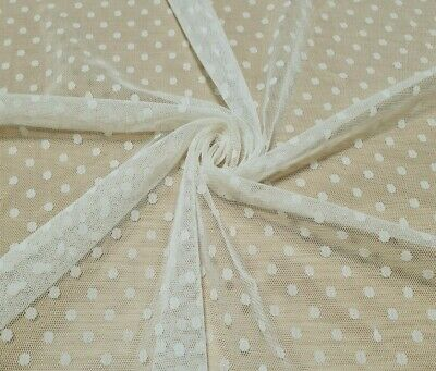 £2.49 • Buy Mesh Net Lace Fabric Cream Colour Spotted Stretch  - Sold By The Metre
