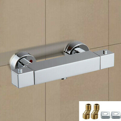 Square Thermostatic Shower Bar Mixer Valve Tap Chrome Bathroom Twin Outlet • 29.99£