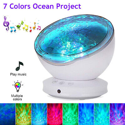 Relax Ocean Wave Music LED Night Light Projector Remote Lamp Baby Sleep Gift • 11.99£