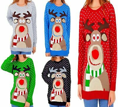 £12.99 • Buy Womens Christmas Jumper Rudolph Pom Pom Nose Ladies Sweater Knitted Xmas Top UK