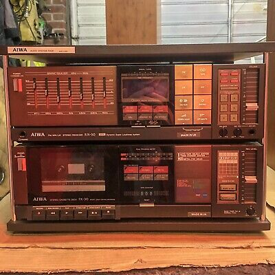 Aiwa RX30 Stereo Receiver And FX30 Cassette Deck In Audio System Rack • 65£
