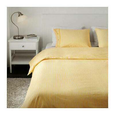 IKEA NYPONROS Quilt Cover And Pillowcases White/Yellow -100% Cotton  • 14.95£
