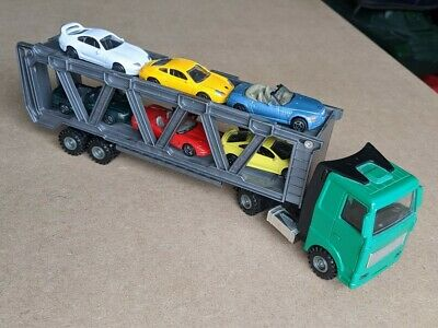 Toy Articulated Car Transporter With 6 Cars Green Cab • 11.99£