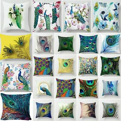 Colorful Peacock Feather Pillow Case Cushion Cover Pillowcase Sofa Car Dec Home • 3.99£