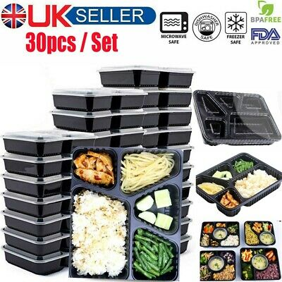 Meal Prep Containers 5 Compartment Food Storage Box Lunch Boxes With Lids BPAFRE • 19.99£