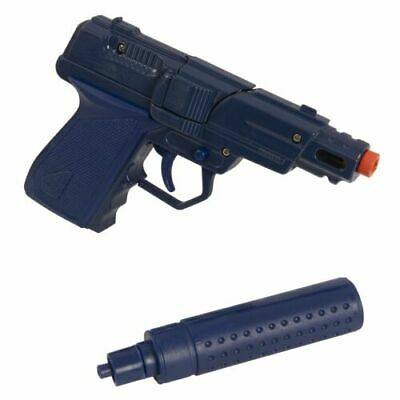 Die Cast Metal Cap Gun Fires 8 Shot Ring Mock Silencer Boys Toy Gun • 7.29£