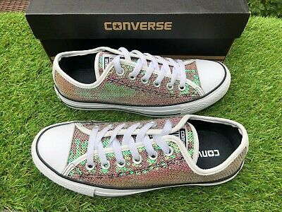 T3 - Converse Trainers Size 5 UK Pink Silver Iridescent Sequin Low Tops VGC • 24.99£
