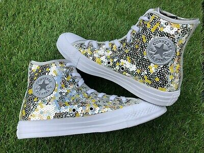 R5 - Converse Trainers Size 4 UK Gold Silver Sequin Hi Top Shoes - Pristine • 27.99£
